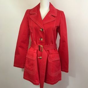 Old Navy Red Belted Trench Coat Size M
